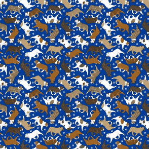 Tiny Trotting Bulldogs and paw prints - blue