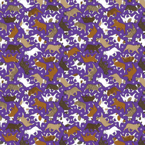 Tiny Trotting Bulldogs and paw prints - purple