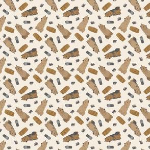 Tiny Australian Terriers - barn hunting