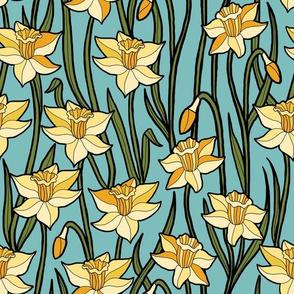 Jumbo Daffodils on Aqua