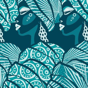 African beauty / Teal / Turquoise / Large scale