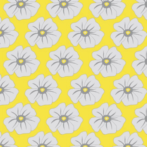 Yellow and Gray Floral Op Art