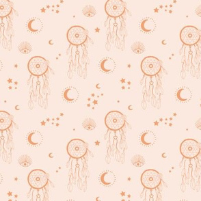 Sweet dreams and boho moon starry night nursery pale blush burnt orange SMALL