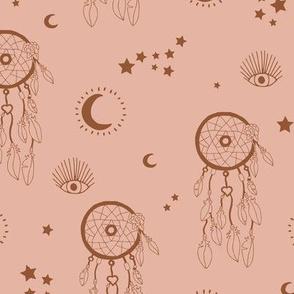 Sweet dreams and boho moon starry night nursery beige coral copper brown