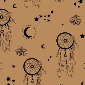 Sweet dreams and boho moon starry night nursery cinnamon mustard brown black