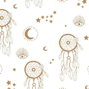 Sweet dreams and boho moon starry night nursery neutral golden ochre on white