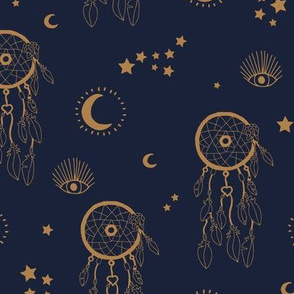 Sweet dreams and boho moon starry night nursery golden navy blue