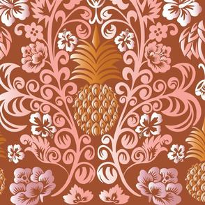 Pineapple Damask warm tones Large Scale