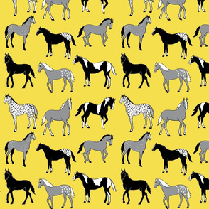 Happy horses on yellow 10x10