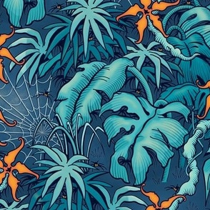 ★ SPOOKY JUNGLE ★ Spiders and Spiderwebs + Monstera, Banana Leaves and Tropical flowers / Blue + Orange - Small Scale / Collection: It's a Jungle Out There – Savage Hawaiian Prints