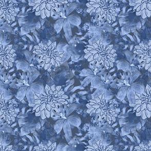 Blue Tropical Floral Watercolor