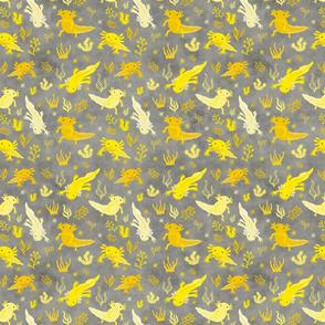 Little Axolotl Yellow & Grey