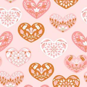 Folk art pink hearts