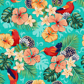 i'iwi retro Hawaiian print in Teal