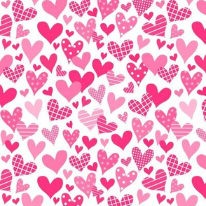 Funky Hearts Pink And White Small