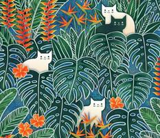 Tropical Cats Large- Cat in Hawaiian Garden- Monstera- Aloha Hawaii Large Scale