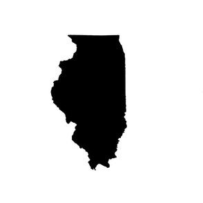 "Illinois silhouette in 13x18"" block, black and white"