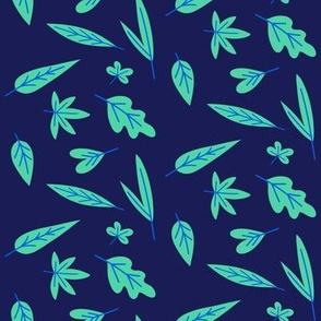 Leaf Scatter Deep Midnight Blue
