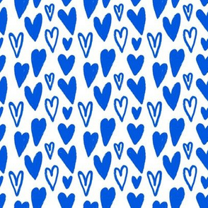 Little Hand-drawn Lovely Cobalt Hearts