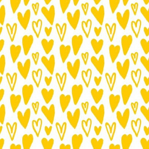 Little Hand-drawn Lovely Yellow Hearts