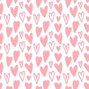 Little Hand-drawn Lovely Pink Hearts