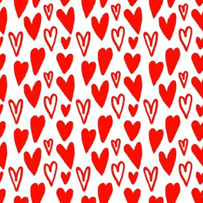 Little Hand-drawn Lovely Red Hearts