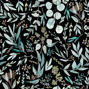 Black Eucalyptus Pattern