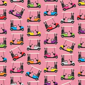 Golf Carts on Pink (small scale)