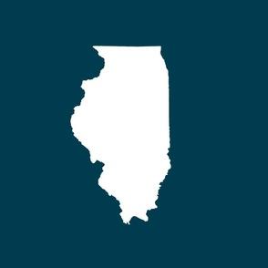 "Illinois silhouette in 13x18"" block, white on navy"