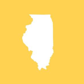 """Illinois silhouette in 13x18"""" block, white on yellow"""
