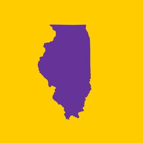"Illinois silhouette in 13x18"" block, college purple on yellow"
