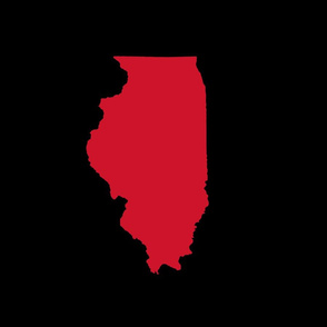 """Illinois silhouette in 13x18"""" block, college red on black"""