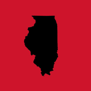 """Illinois silhouette in 13x18"""" block, college black on red"""