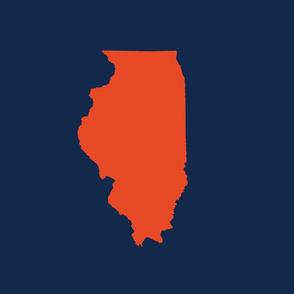 "Illinois silhouette in 13x18"" block, college orange on navy"