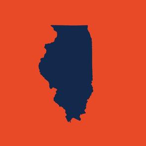 "Illinois silhouette in 13x18"" block, college navy on orange"