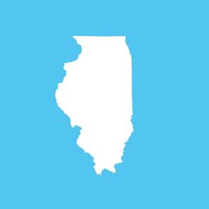 "Illinois silhouette in 13x18"" block, white on bright sky blue"