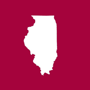 """Illinois silhouette in 13x18"""" block, white on cranberry red"""