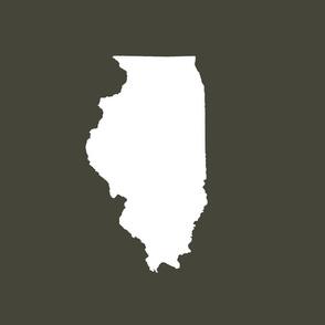 """Illinois silhouette in 13x18"""" block, white on khaki"""