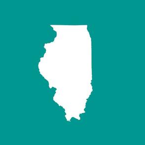 "Illinois silhouette in 13x18"" block, white on teal"