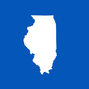"Illinois silhouette in 13x18"" block, white on true blue"