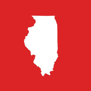 """Illinois silhouette in 13x18"""" block, white on red"""