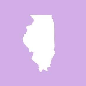 "Illinois silhouette in 13x18"" block, white on lilac"