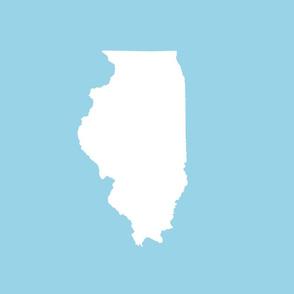"Illinois silhouette in 13x18"" block, white on light blue"