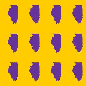 "Illinois silhouette in 4.5 x 6"" block, college purple on yellow"