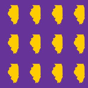 "Illinois silhouette in 4.5 x 6"" block, college yellow on purple"