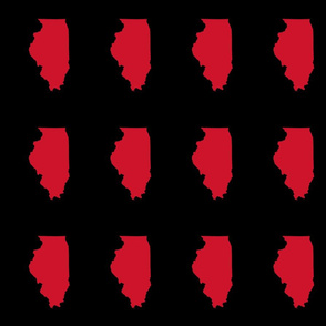 """Illinois silhouette in 4.5 x 6"""" block, college red on black"""