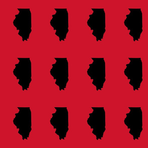 """Illinois silhouette in 4.5 x 6"""" block, college black on red"""