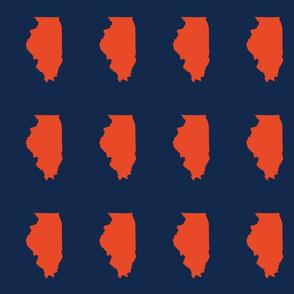 "Illinois silhouette in 4.5 x 6"" block, college orange on navy"
