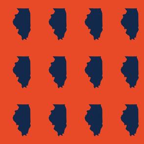 "Illinois silhouette in 4.5 x 6"" block, college navy on orange"