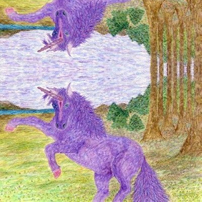 Unicorn hand-drawn watercolor pencil